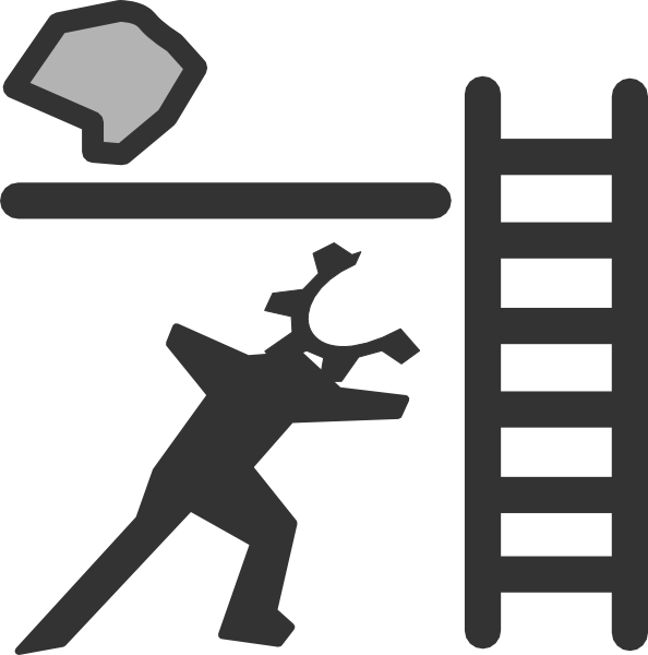 vector stock Climbing a ladder clipart. Person with and rock