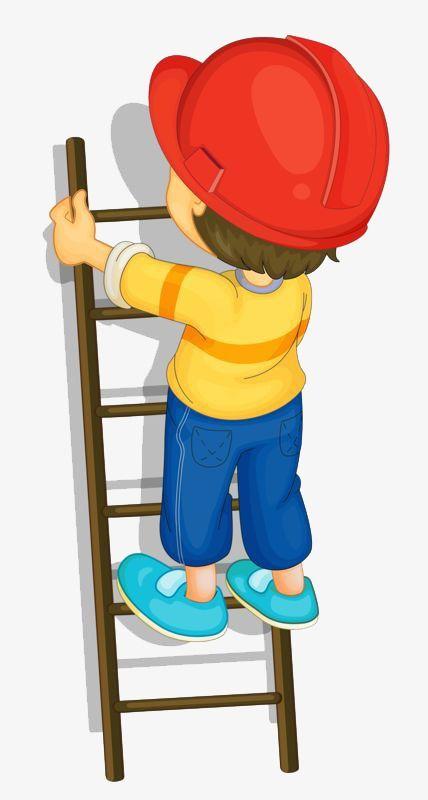 vector freeuse library Climbing a ladder clipart. Little boy home decor