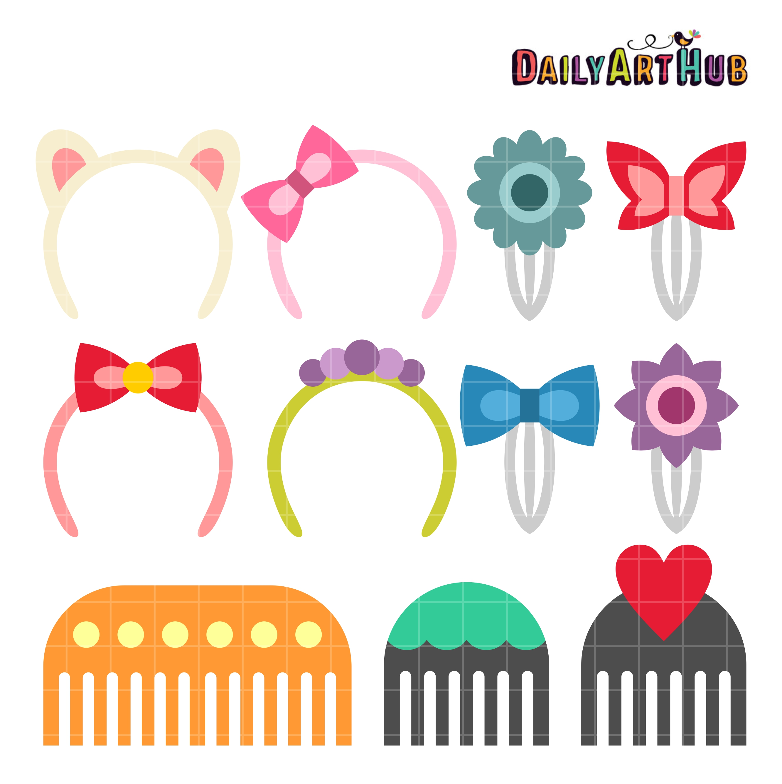 image library Clip clipart hair. Accessories art set .