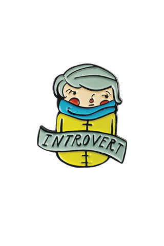 banner black and white stock Introvert Lapel Pin