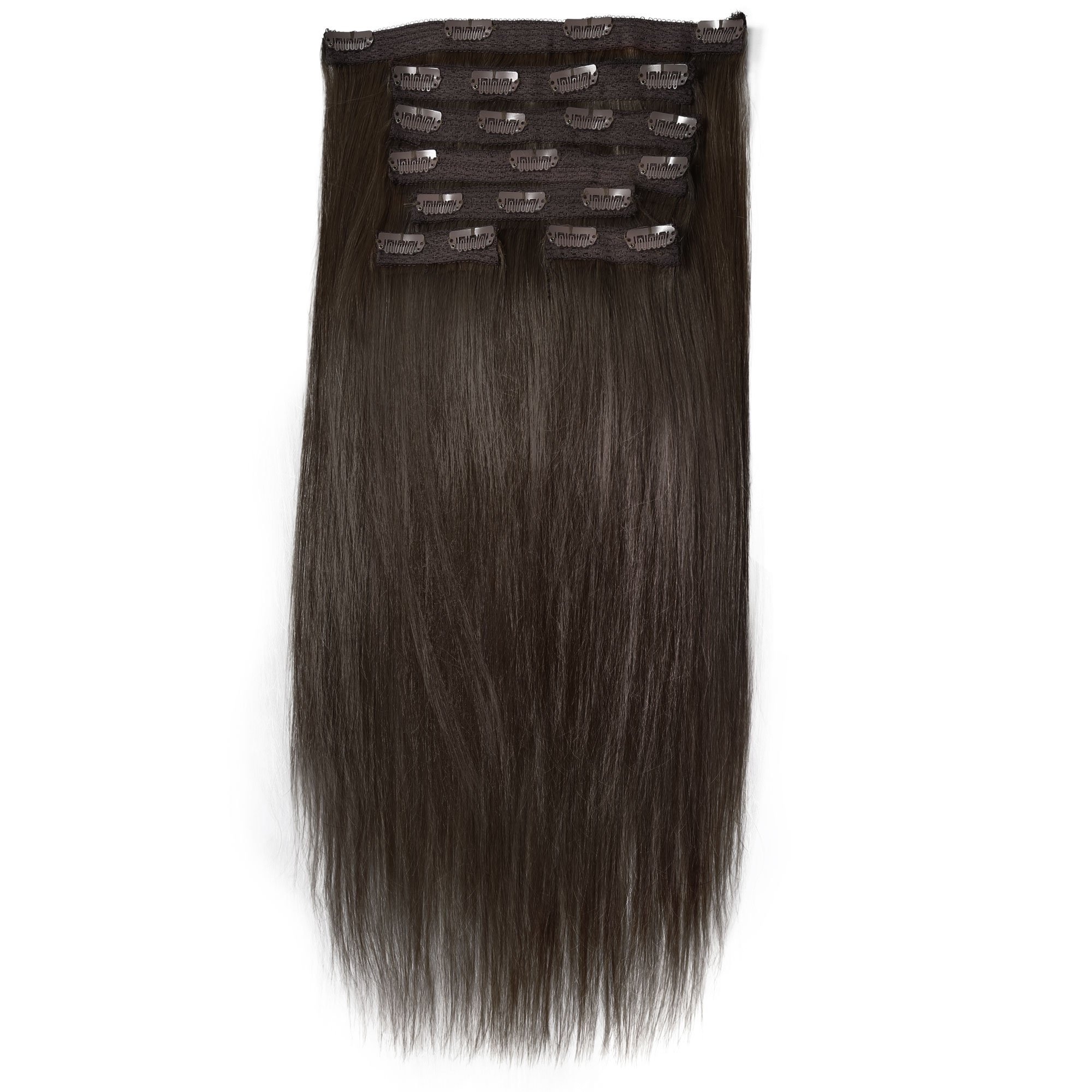 picture black and white stock Clip hair. Straight piece in set