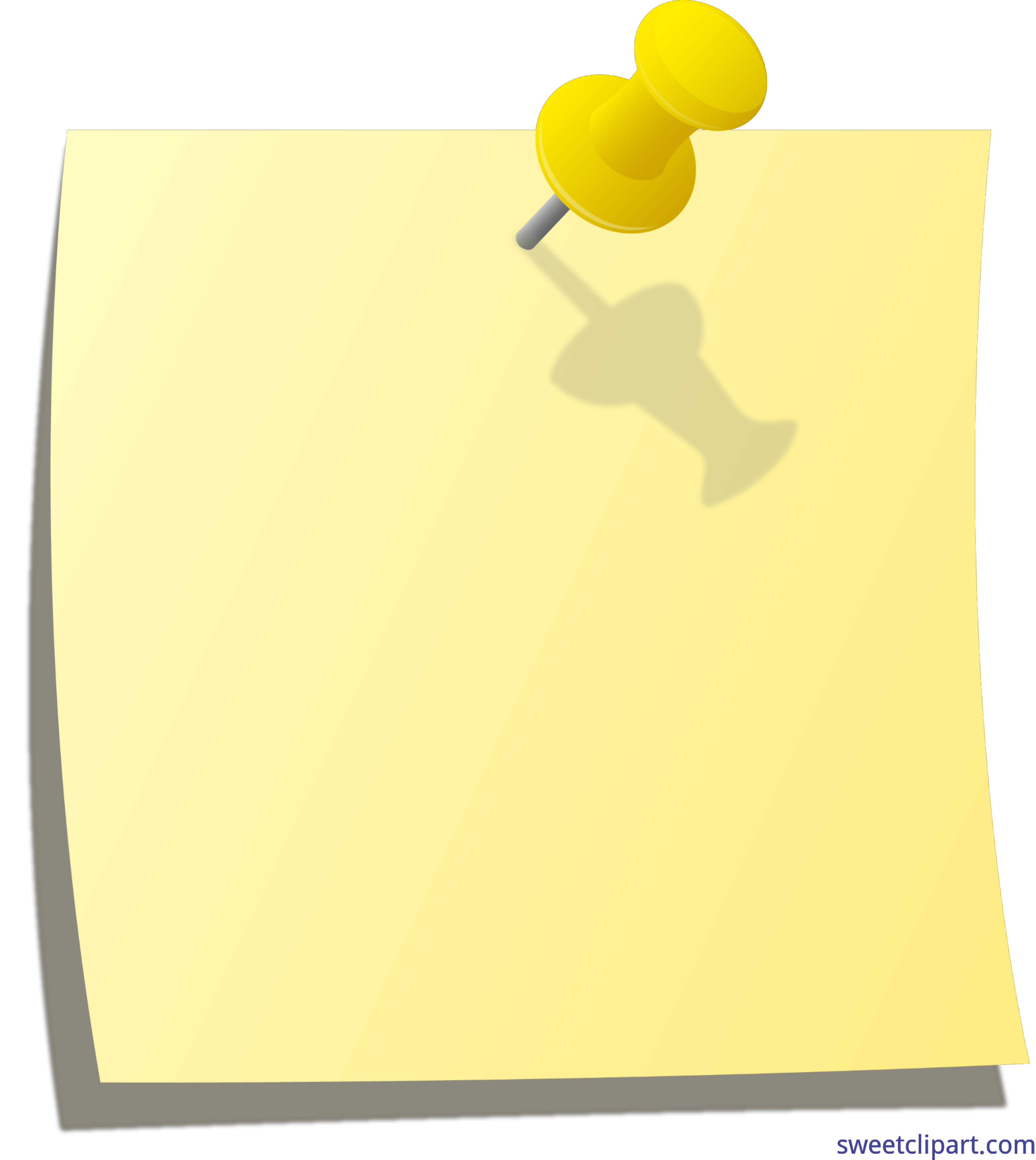 clipart free library Thumbtack Note Yellow Clip Art