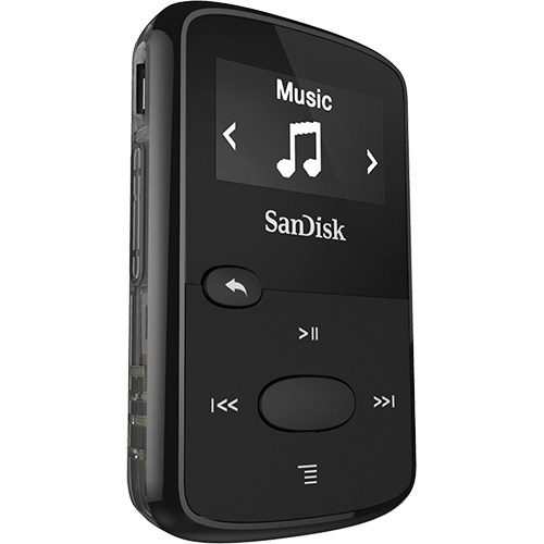 transparent stock Mp player sandisk black. Clip jam.