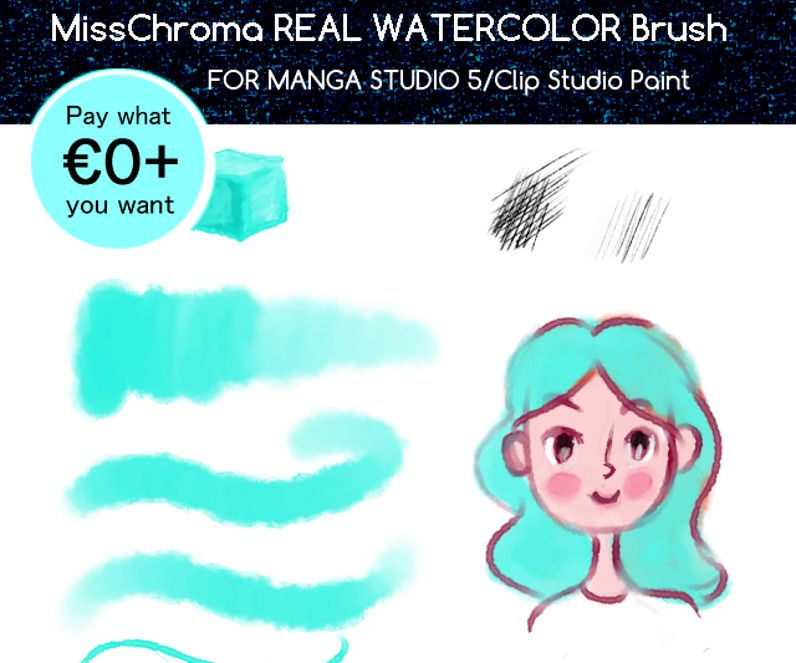 image free download Real Watercolor Brush for Clip Studio Paint