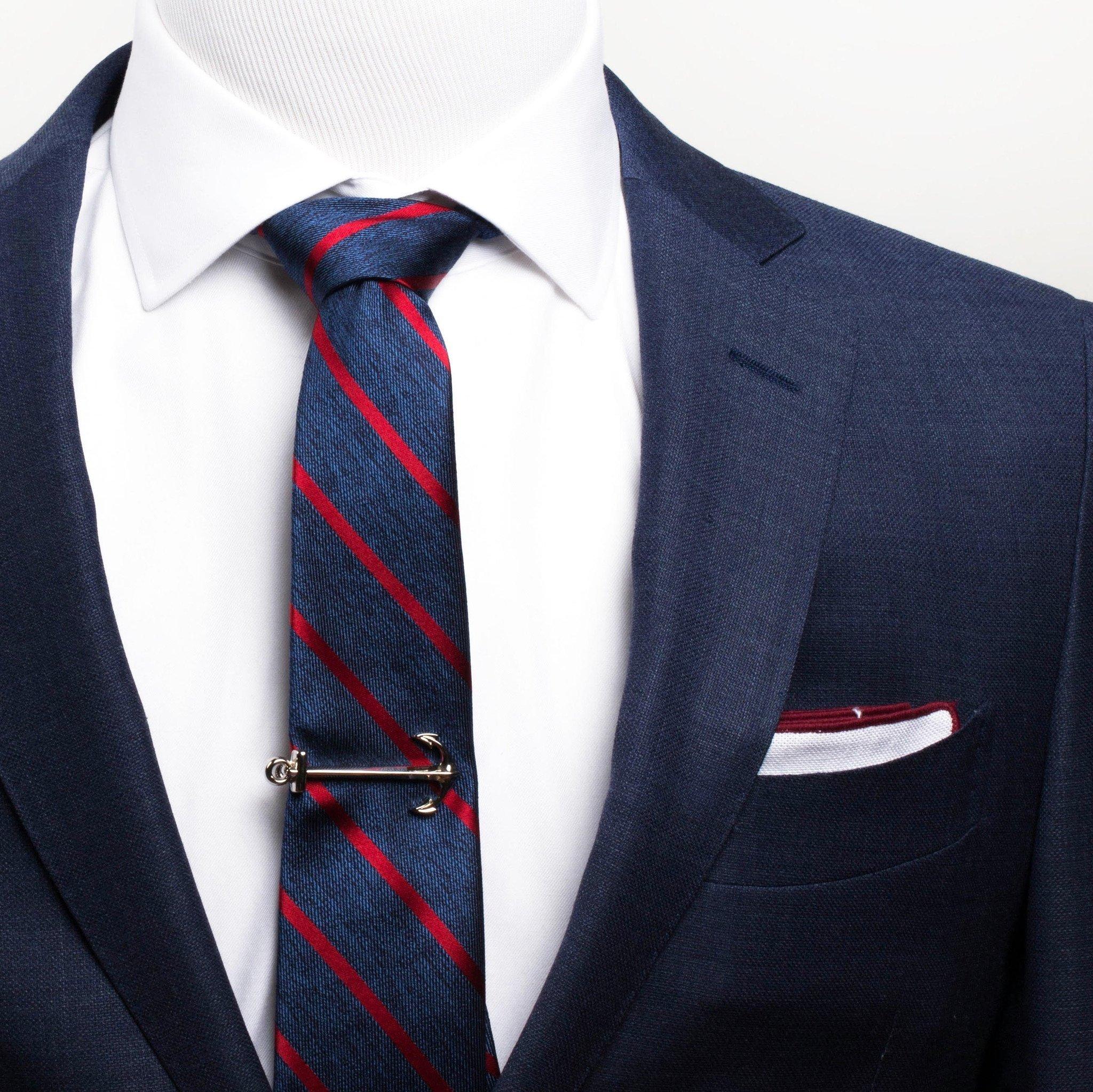 picture Clip tie. Silver anchor