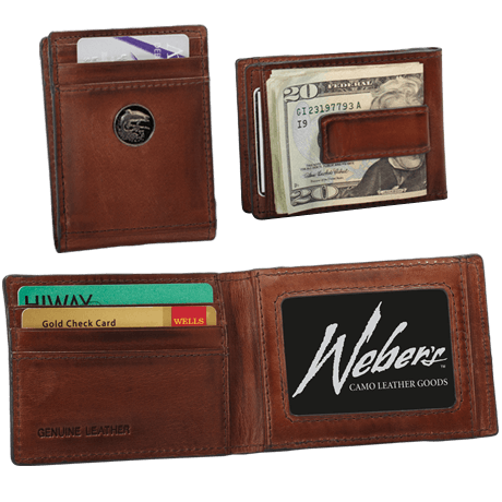 banner free download Front Pocket Wallet with Money Clip Premium Caramel Brown Leather