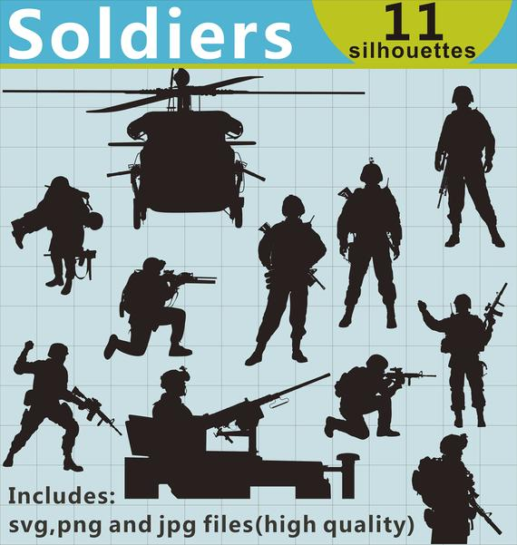 svg black and white stock Soldiers silhouettes military svg. Clipart army soldier