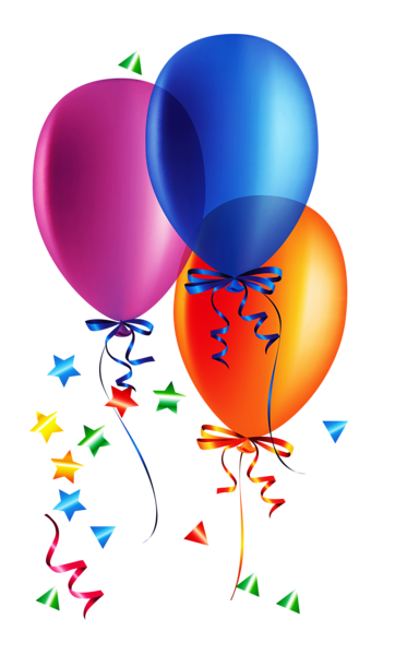 image library stock Transparent balloons with confetti. Las vegas clipart happy birthday