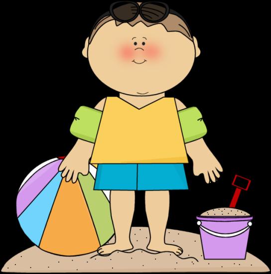 vector transparent download Boy At Beach Clipart