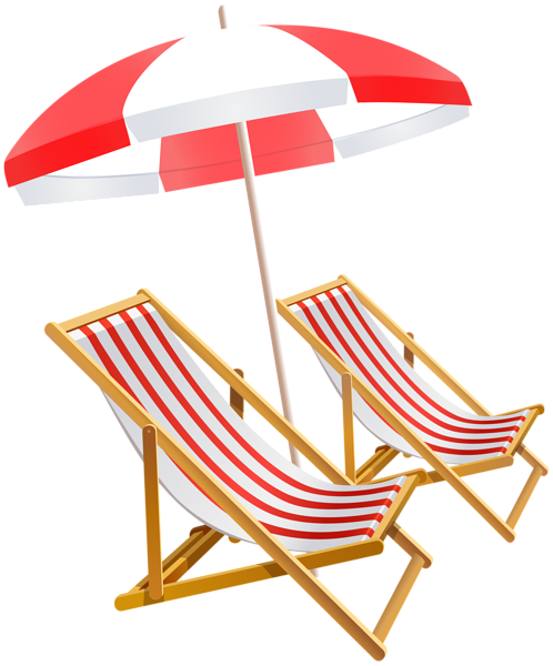 image black and white library Beach Umbrella and Chairs PNG Clip Art Image