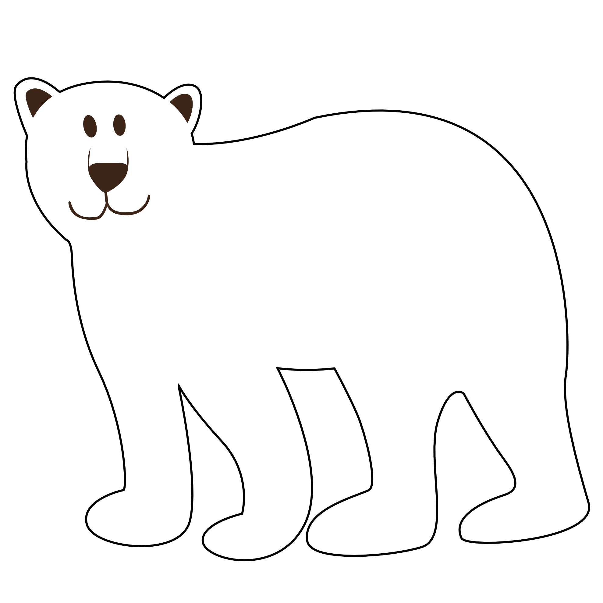freeuse stock Clipart bear black and white. Polar clip art free