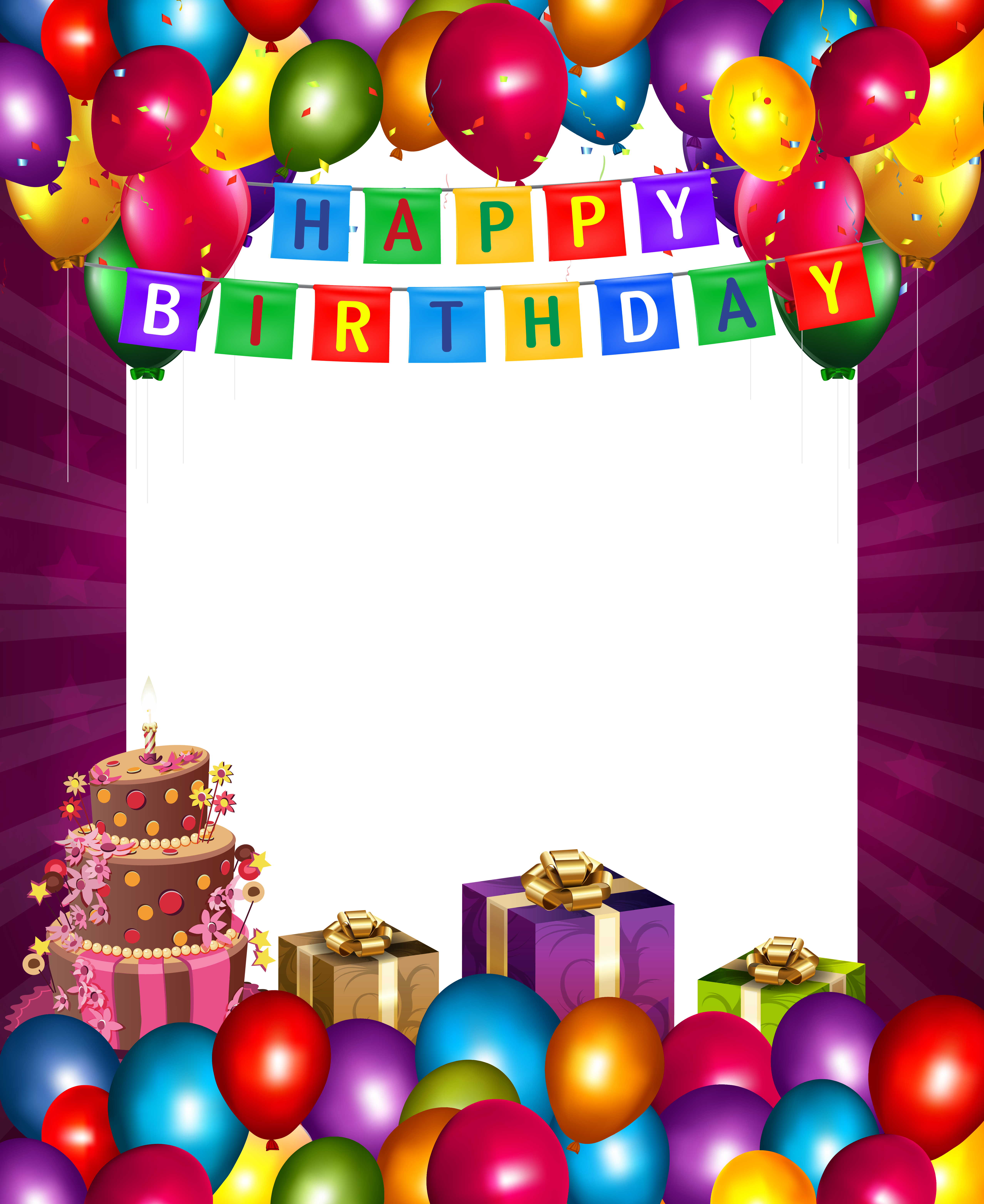 black and white stock Free clipart of happy birthday balloons. With transparent png frame