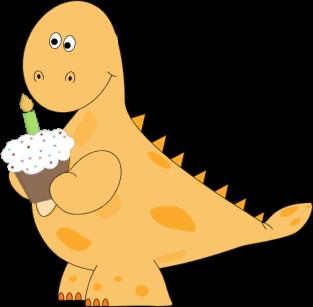 image free library Dinosaur birthday cupcake clip. T rex clipart orange