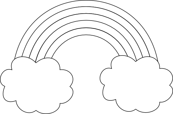 vector stock Clipart black and white rainbow. With clouds arches clip