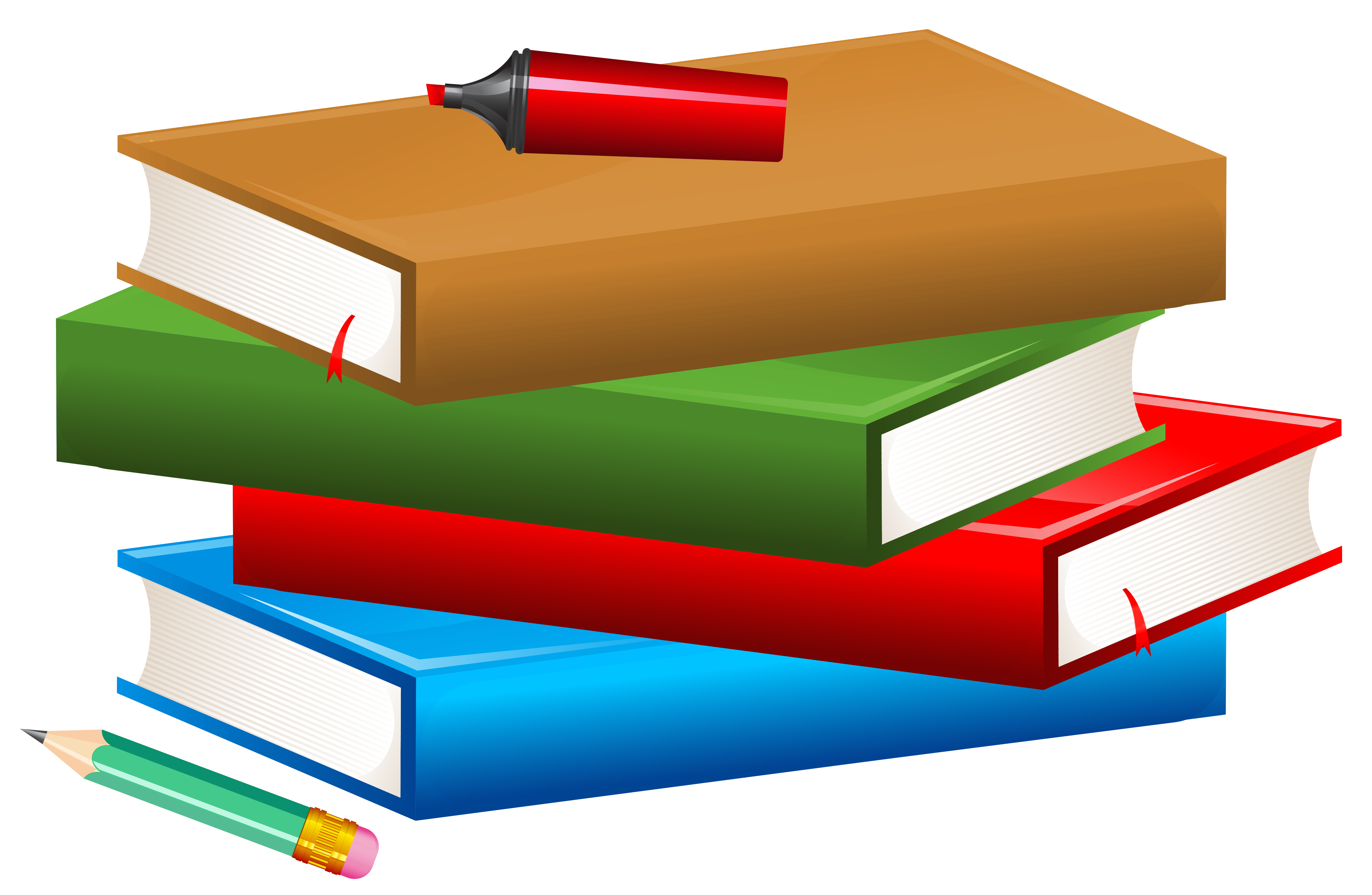 clip art library download Books with Pencil and Marker PNG Clipart Image