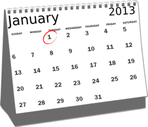 picture library library January desk calendar clip. 2013 clipart black and white