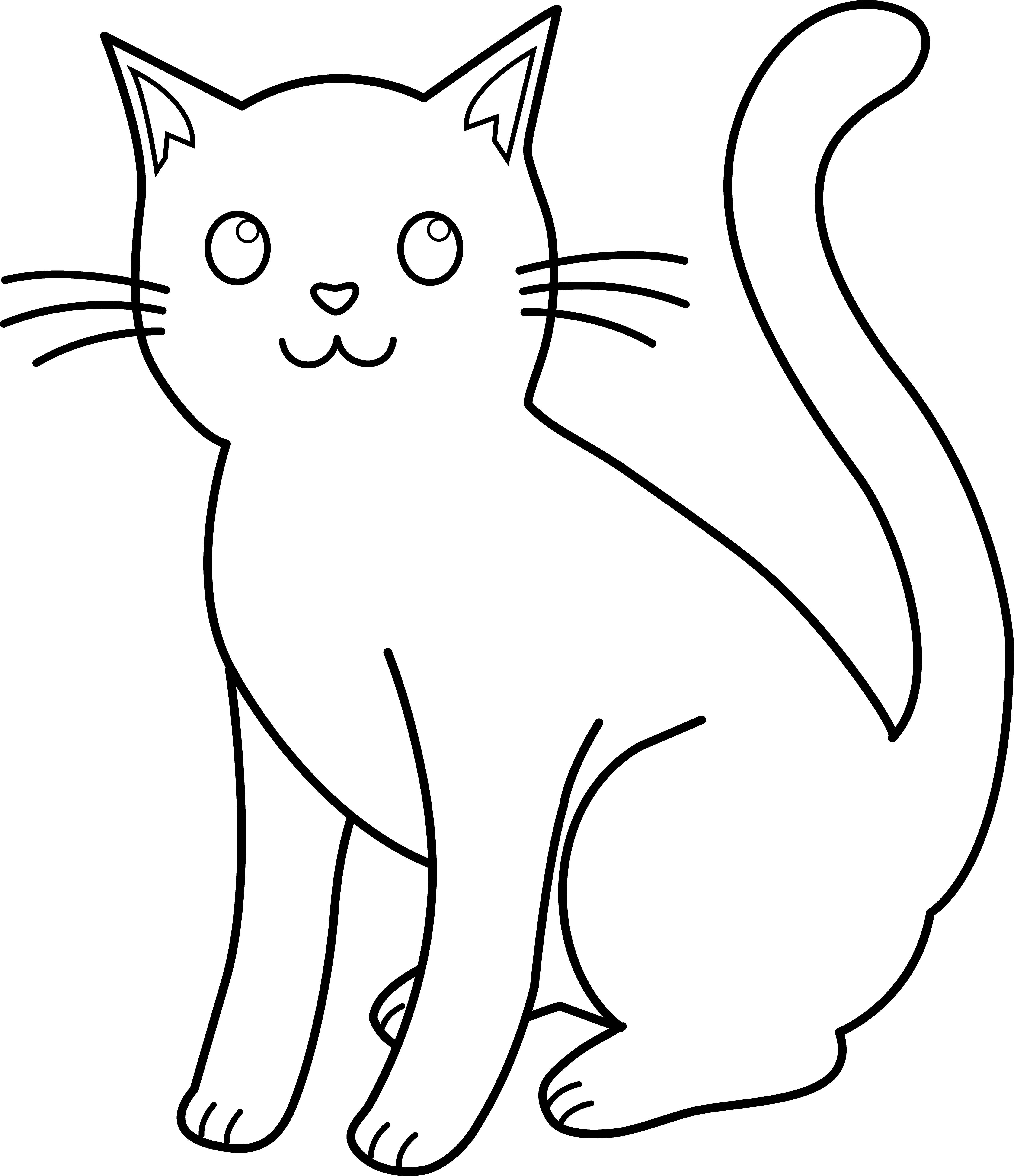 clip art freeuse library Cat Drawing Black And White at GetDrawings