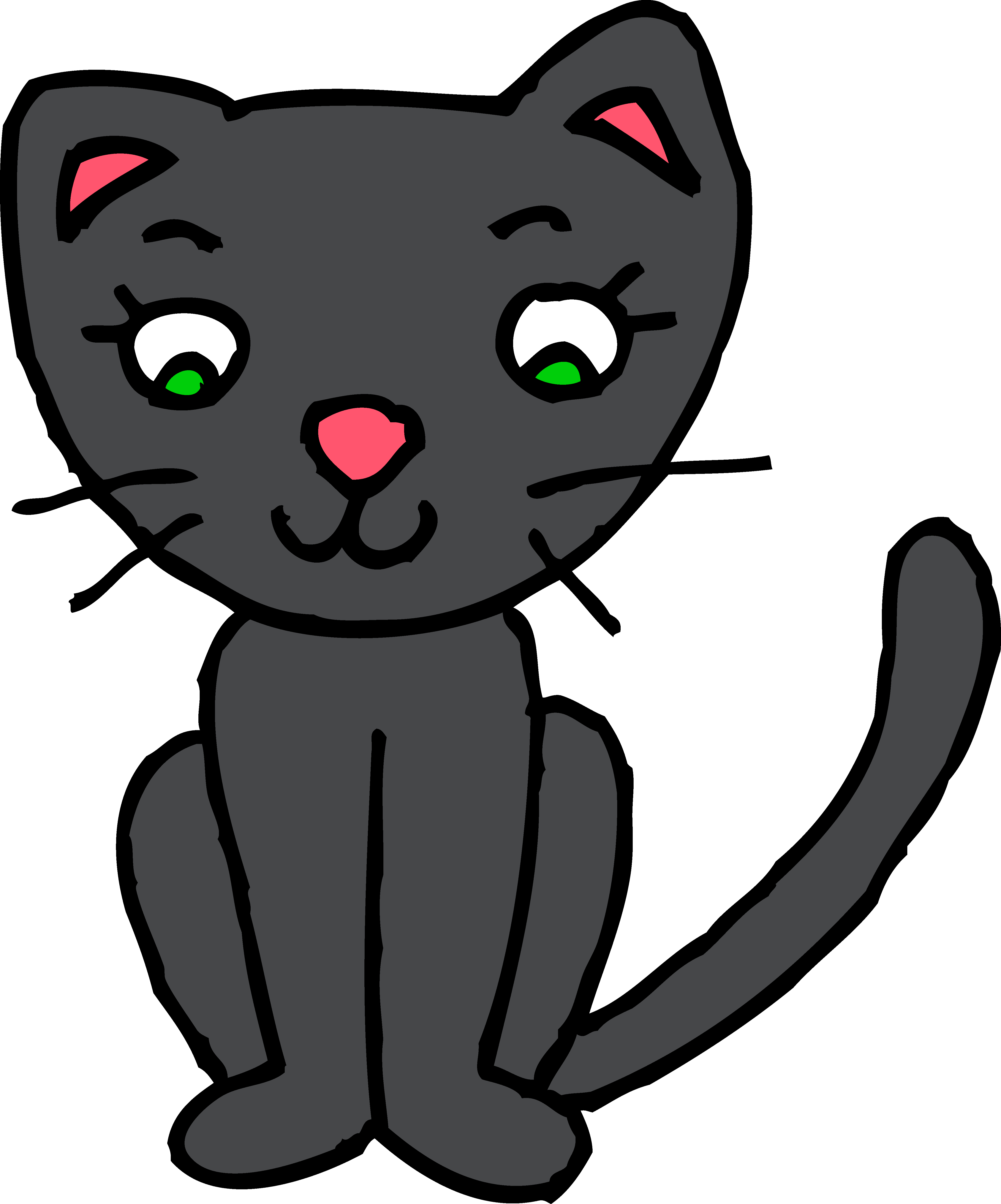png black and white library Cute Black Kitty Cat Clipart