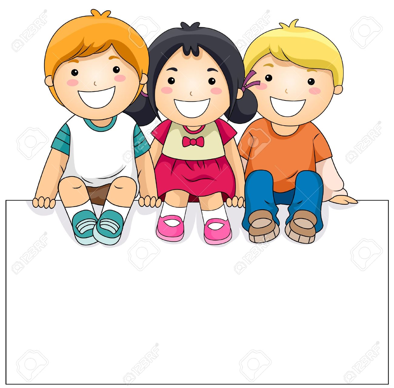 picture freeuse download Clipart kids. Children with a panda