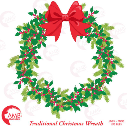jpg stock Holiday amb . Clipart christmas wreath.