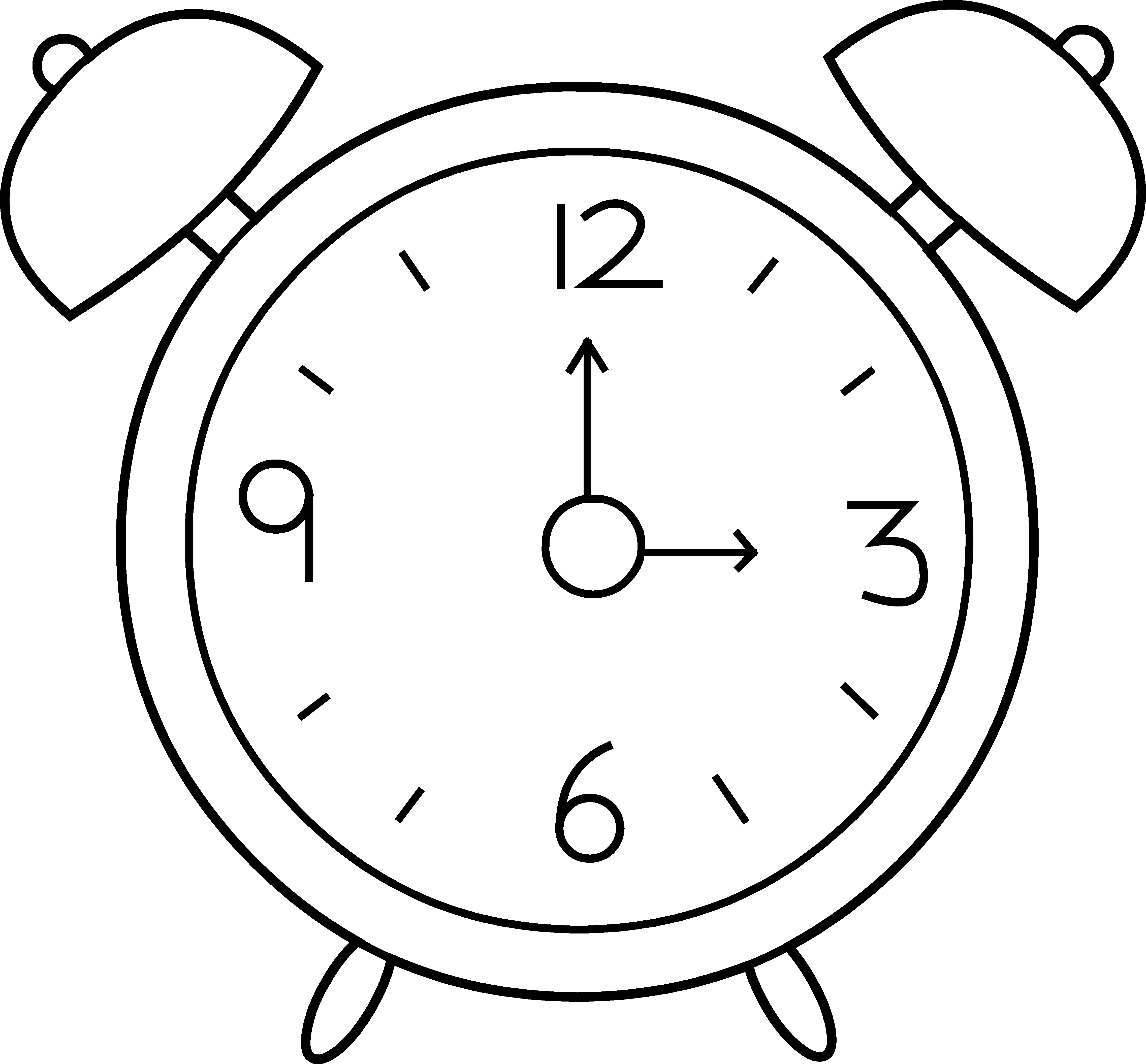 svg black and white library Clip Art Cartoon Clock Clipart