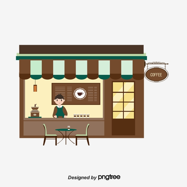banner free download Clipart coffee shop. Cartoon cute flat elements