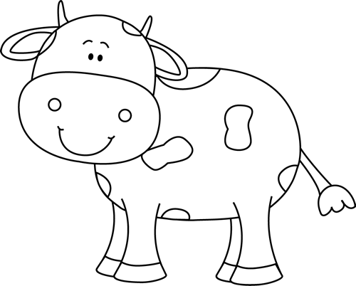 image stock Cow clipart black and white. Coloring animals pinterest free