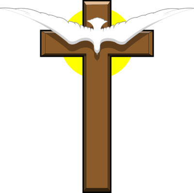 clip art free Image dove over christart. Crucifix clipart wooden cross
