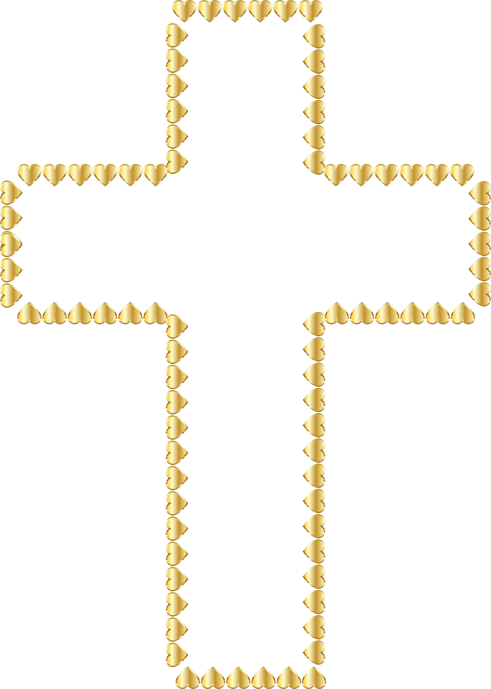 jpg royalty free library Cross hearts no background. Golden clipart transparent