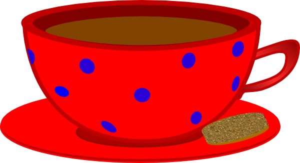clip transparent library Cup clipart cup saucer. Red blue polka dots.