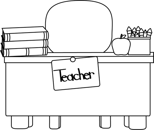 svg stock Classroom teachers desk coloring. Door black and white clipart
