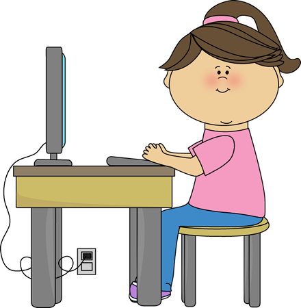 jpg library stock School girl using a. Kids testing clipart