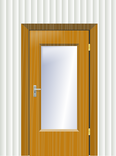 image download Vector door wooden. With cristal and wall