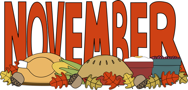 banner freeuse library November clipart border. Month of thanksgiving food