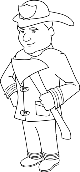 png royalty free library Fireman drawing. Firefighter coloring page free