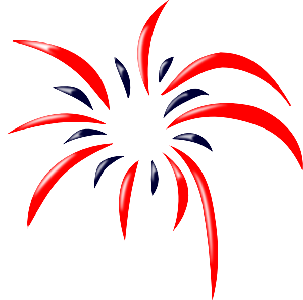 png free red white and blue fireworks clipart #59479660