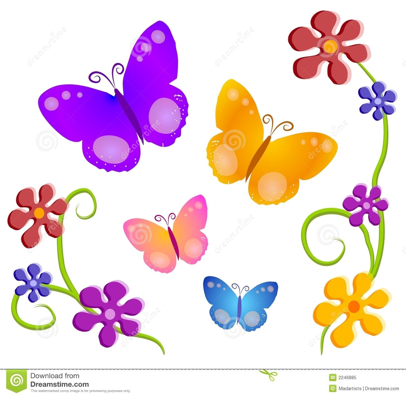 png download Cartoon clip art butterfly. Clipart flowers and butterflies.