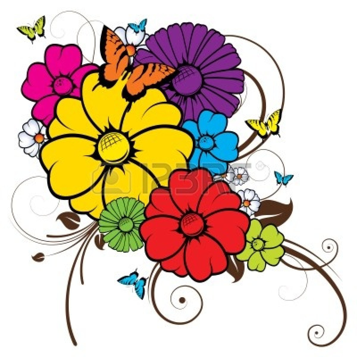 vector transparent stock Clipart flowers and butterflies. Free download clip art.