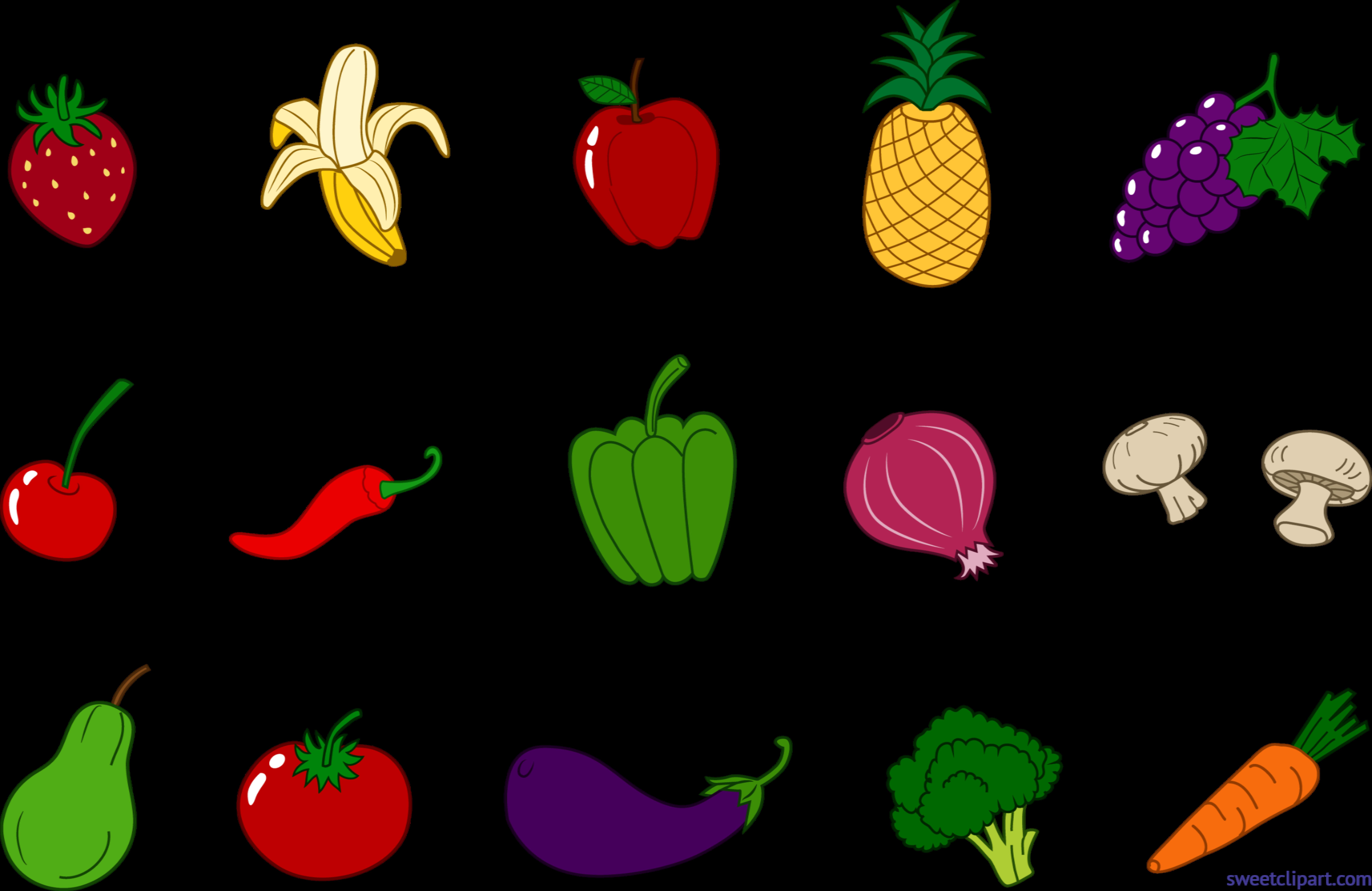 clip free library Fruits veggies set clip. Good clipart nutritious food