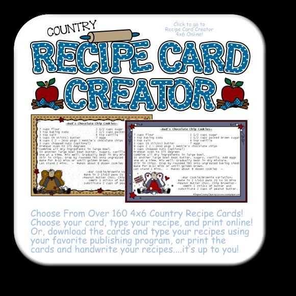 clip art library Recipe Card Creator