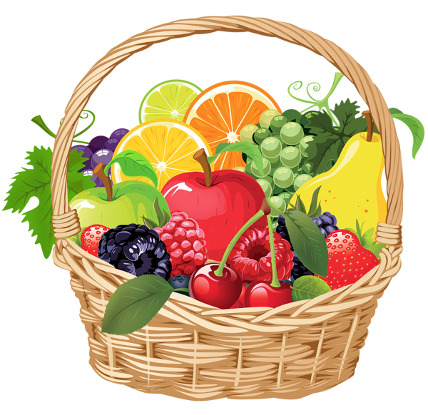 banner black and white library Fruit Basket PNG Vector Clipart