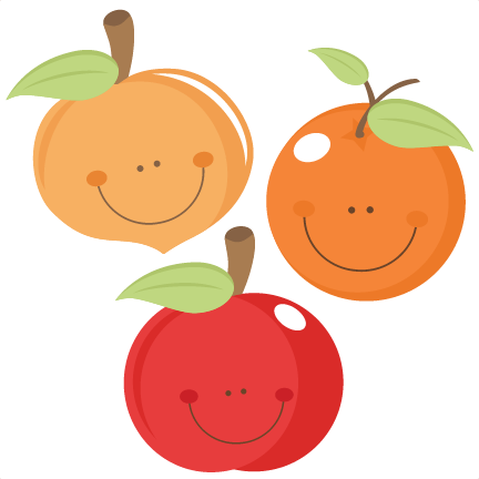 clipart royalty free stock Cute Fruit peach apple orange scrapbook cuts SVG cutting files