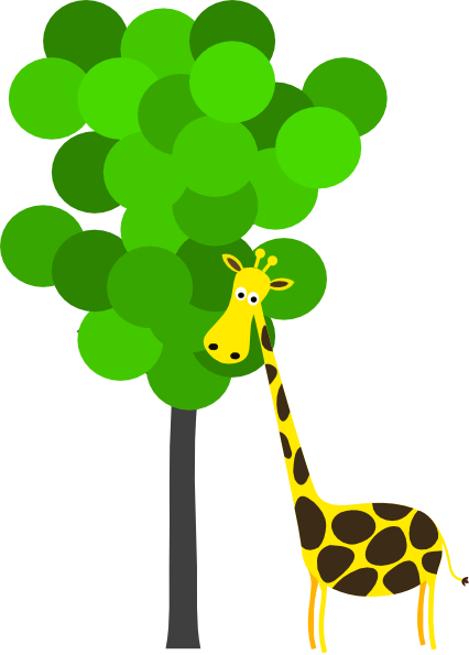 png black and white library With clip art at. Tree clipart giraffe