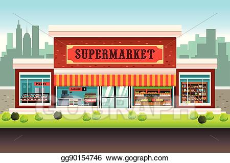 stock Vector art grocery store. Clipart supermarket