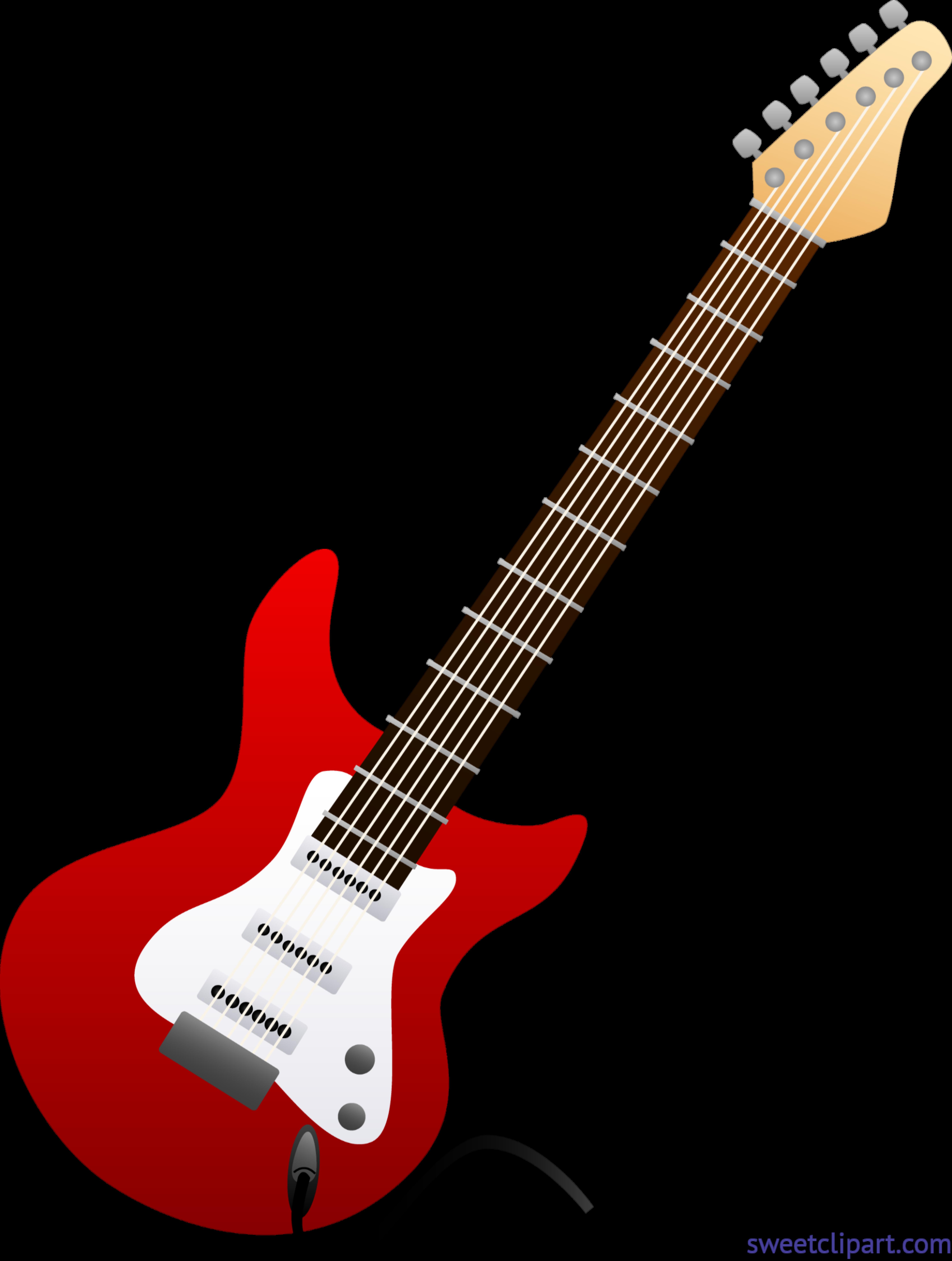 image transparent download Guitar clipart cute. Electric red clip art