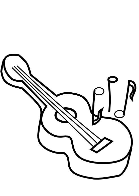 image royalty free library Guitar line drawing at. Musical instrument clipart black and white
