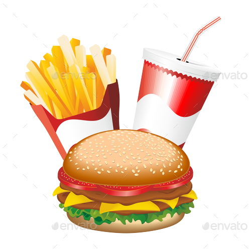 png freeuse library Vector burger fry. Fast food transparent png