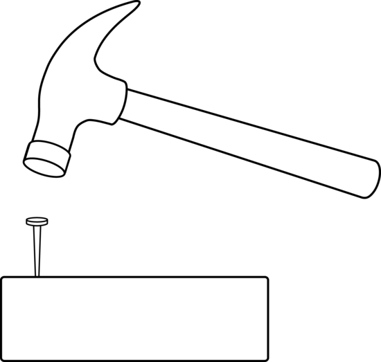 banner freeuse And nail outline free. Hammer clipart wooden hammer