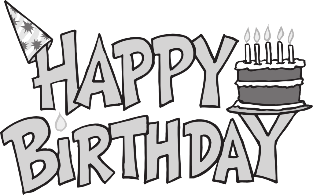 graphic royalty free library Clipart happy birthday. Banner black and white