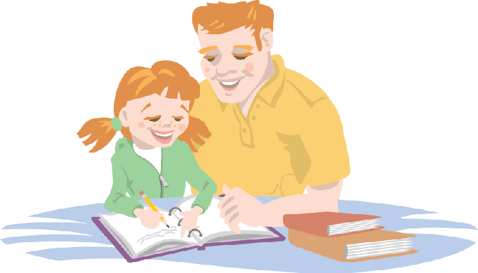 clip transparent download Dad helping his daughter. Homework clipart